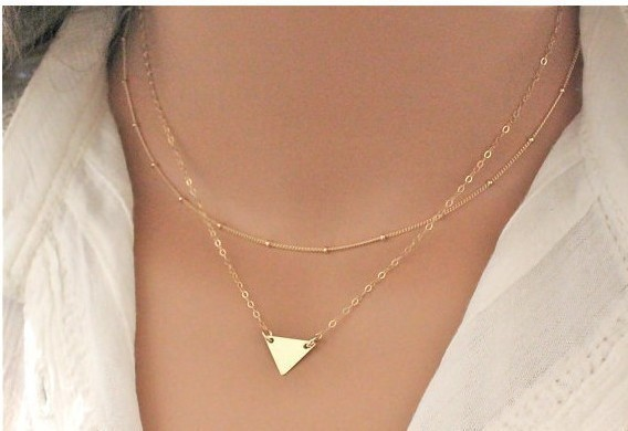 New Gold Plated Double Layer Triangle Necklace For Women