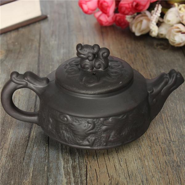 New Arrival Chinese Dragon Kung Fu Tea Sets Yixing Purple Clay Teapot Black Teacup 3 Pcs/Set Tea Service High Quality Tea Set