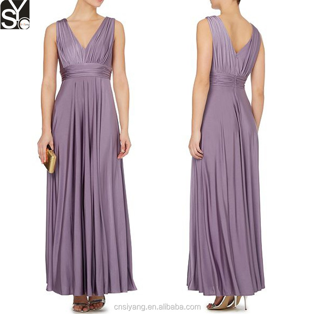 Dongguan Clothing Manufacturer New Long Elegant Lady Purple Women Dresses Party Evening