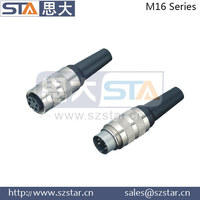 M16 replaced waterproof Amphenol famale and male plug, locking system connector,6pin M16 connector