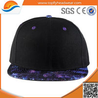 2014 hot sale six panel flat leopard brim black cotton blank snapback cap