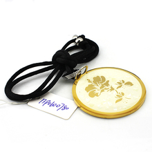 13P0600780 SOQ Online Wholesale Black Rope Chain stainless steel Gold Plated Pendant <strong>Necklace</strong>