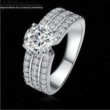 Cutting wedding design platinum plated wide 3 row with AAA Cubic Zircon ring