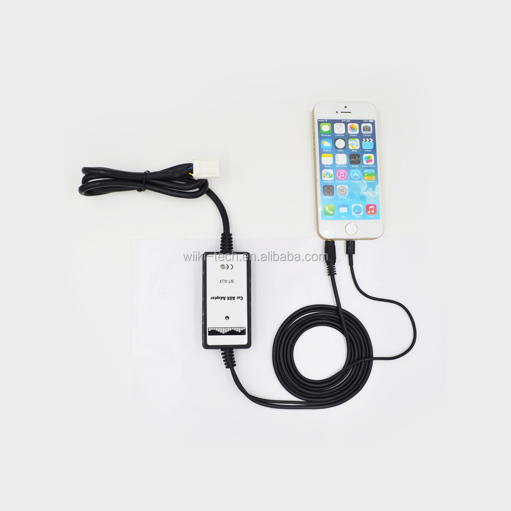For Toyota Lexus Auxiliary Input Car Mp3 Audio Interface for iPhone 6s Lighhtning with Charger