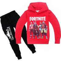 Stock printed hoodie and joggers set for youth top sale no moq cheapest kid's hoodie and pant set in hot game print