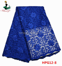 Haniye HPG12-8 royal blue Nigerian embroidery guipure lace fabric for dress/hot sale guipure cord lace for dress