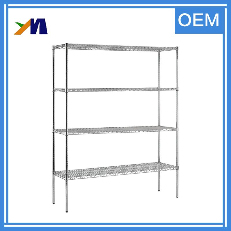 Heavy-duty adjustable used chrome sliding bathroom metal storage wire shelving