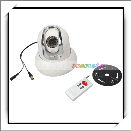 Ceiling Mount Pan/Tilt Rotation Indoor CCD Dome Camera with Remote Control