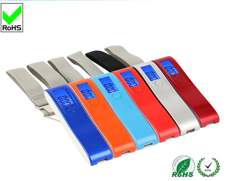2017 50kg digital luggage scale with 2600mAh Battery charger with Blue LED display