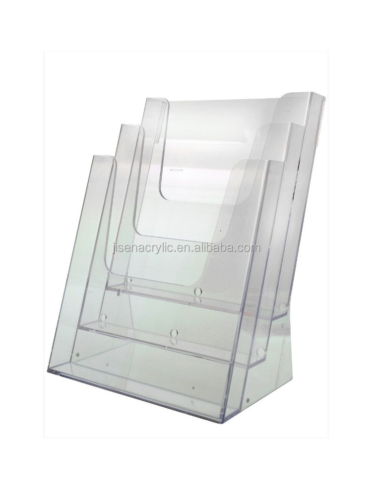 Lot of 2 Acrylic Magazine-Literature-Brochure Holder 3 Pocket Counter Display