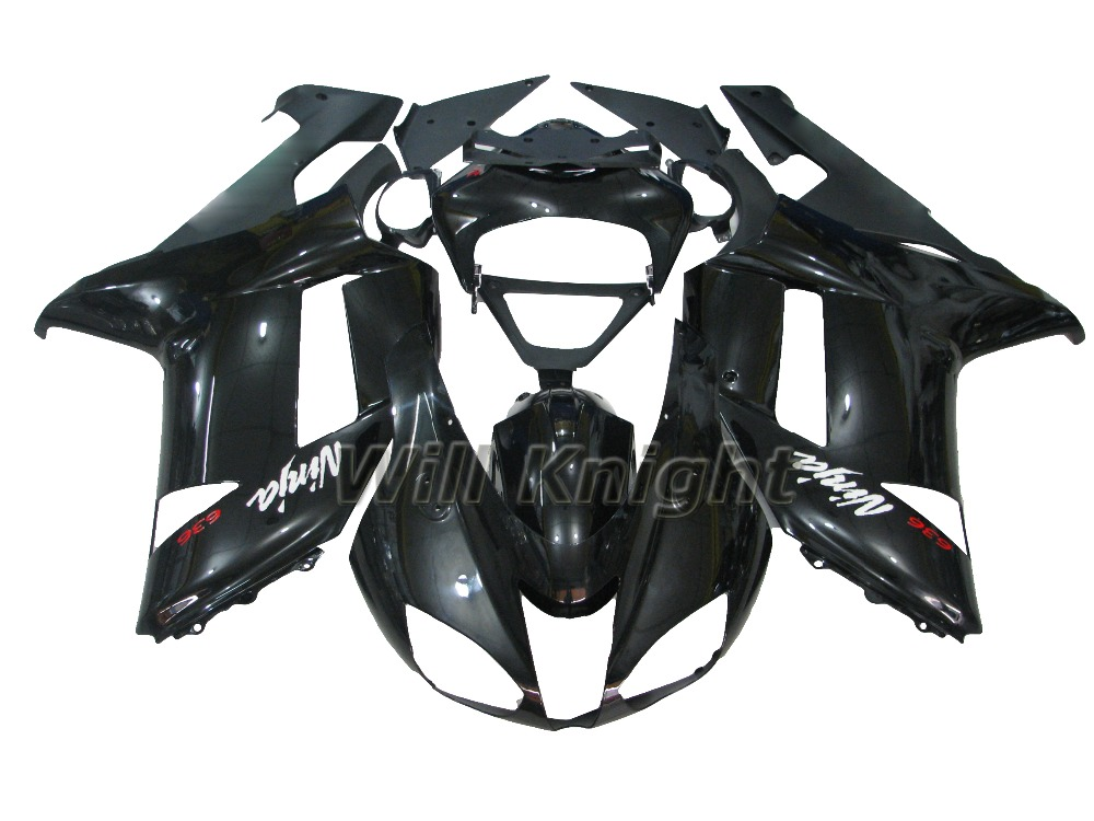 2007 2008 ZX6R For Kawasaki ZX636 Fairing Black ZX6R 07 08 Injection Mold Bodywork Ninja zx6r ZX 6R 2007 2008