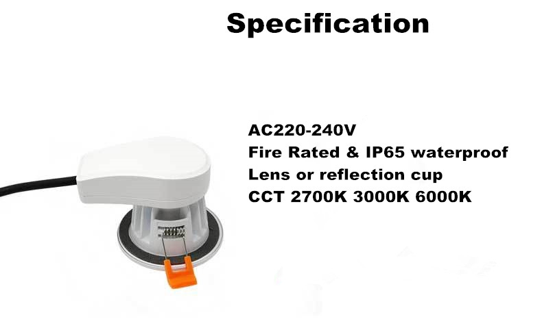 New Products 8W 10W dimmable  fire rated led spot downlight 2700K 3000K 6000K Color termerature adjusted downlights