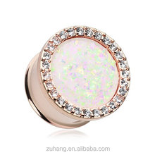 Anodized Rose Gold Opal Multi-Gem Eyelet Piercing Ear Tunnel Gauge Plug