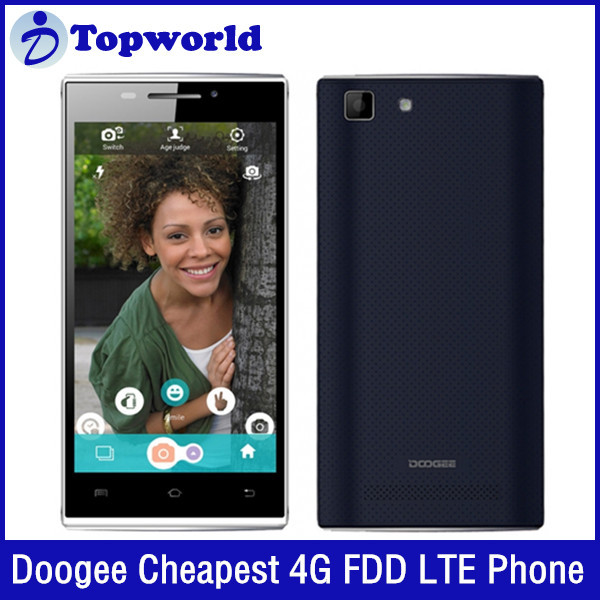 World Cheapest Mobiles 4.5inch with IPS Android4.4 MTK6732 4G LTE FDD 8MP Doogee F1 phone