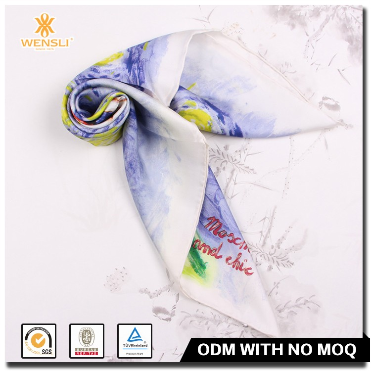 Wholesale Digital Print Girl Pure Silk Scarf Made in China