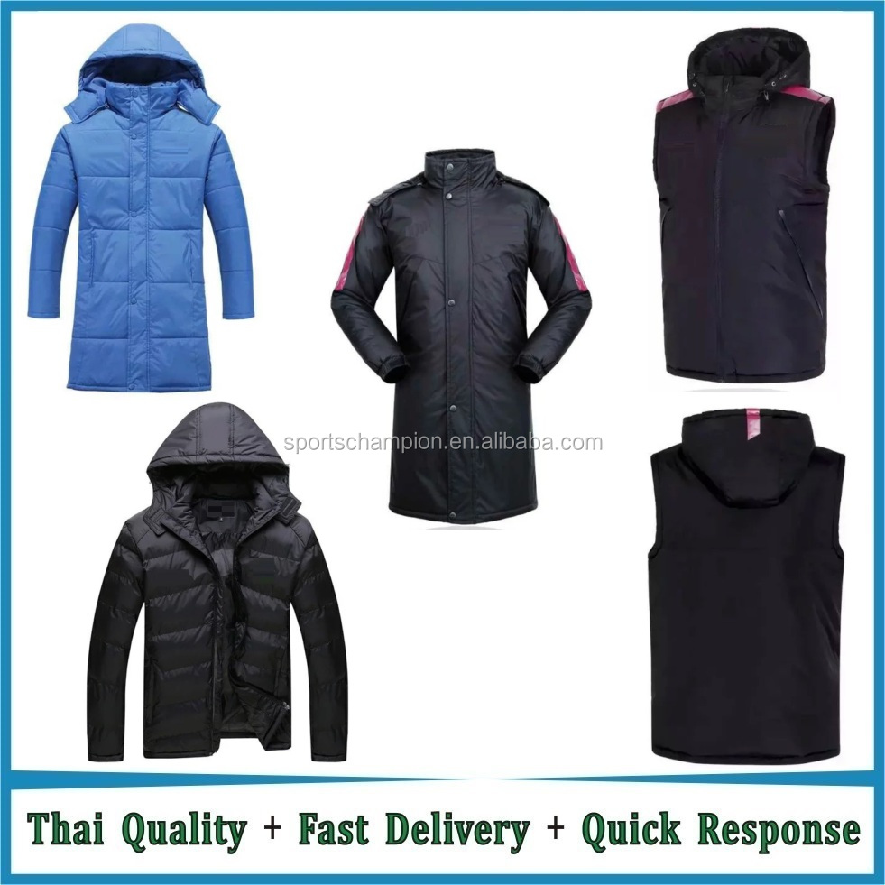 Wholesale Soccer Winter Jacket 16/17 Football Winter Jacket Long and Sleeveless