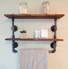 Industrial Retro Wall Mount Wood Pipe Bathroom <strong>Shelf</strong>