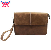 Custom wholesale brown vintage pu leather mens clutch bag with wristlet