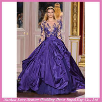 HE9472 alibaba recommanded made in China dark purple lace top ruched taffeta skirt ball gown long sleevesexy sheer evening dress