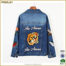 2017 spring new BF style heavy embroidery tiger denim jacket female long sleeve denim coat