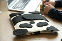 Fashion Black 9.7 inch Wool Felt Tablet Case Cute Cartoon Panda Tablet Bag