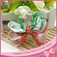 Christmas design grosgrain ribbon hair bows for girls, boutique bows for hair accessory