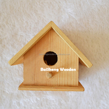Creative natural style pet products small wood craved bird houses with rope