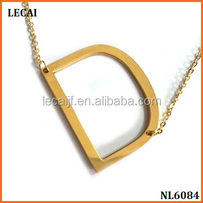 Stainless steel initial Alphabet 26 letters script Name pendant Chain necklace from A-Z gold/silver