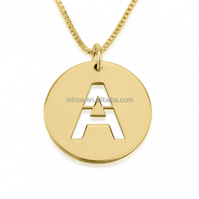 Bangladeshi Wedding Jewelry 24K Gold Plated Initial Cut Out Disc Necklace