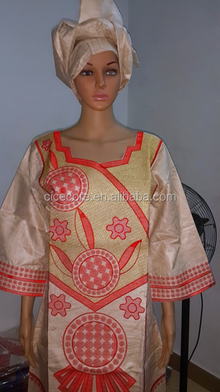 AFRICAN FABRICS NEW AFRICAN BAZIN RICHE EMBROIDERY DRESSES AFRICAN DRESSES LONG DRESS WITH HEADTIE