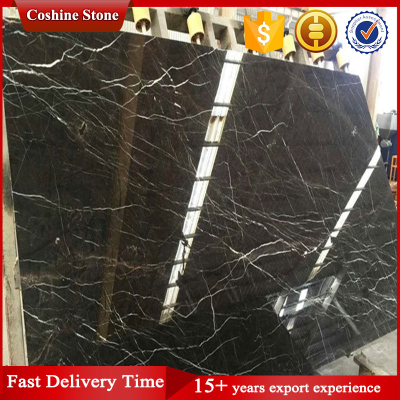 Polished Black With White Grain, China Saint Laurent Marble