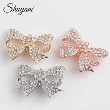 Alloy metal crystal bowknot brooches party accessories wholesale cheap brooch
