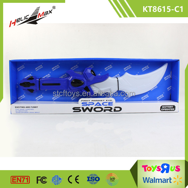 Kids plastic electronic knight cheap sword and weapons army space laser battery sword