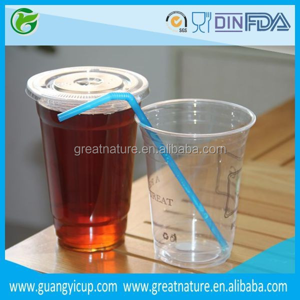 Disposable Clear Plastic Cup with Lid and Straw