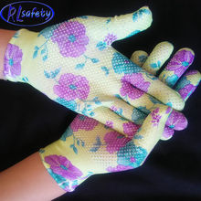 Natural floral Average Quality mini Pvc dotted nylon Gloves for Construction and Industrial Use