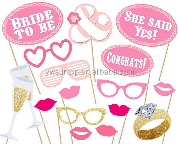 Bridal party Photo booth Props Printable baby shower Pink Set Bachelorette wedding
