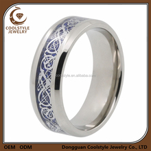 Mens 8mm engagement finger ring silver celtic dragon inlay titanium ring