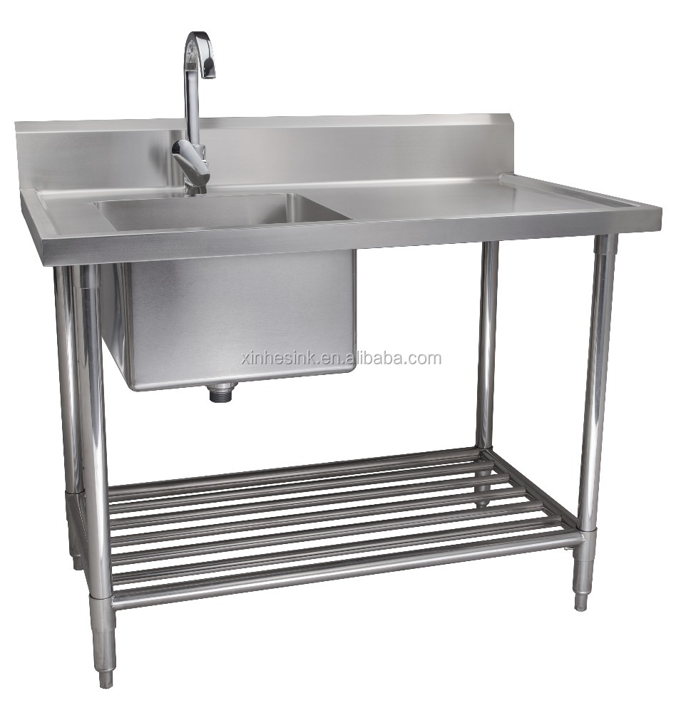 Stainless Steel 304 Commercial Compartment Sinks, Customized Cabinet