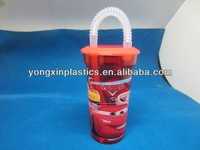 450ml disposable plastic cups lid and straw