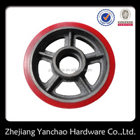 custom china factory cheap drop PU casters, cast iron PU wheel