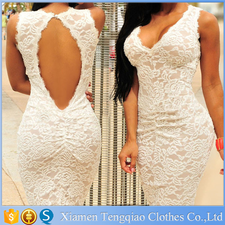 2015 New Summer Style White Lace Bodycon Dress Sleeveless Deep V-neck Latest Fashion Dress Design