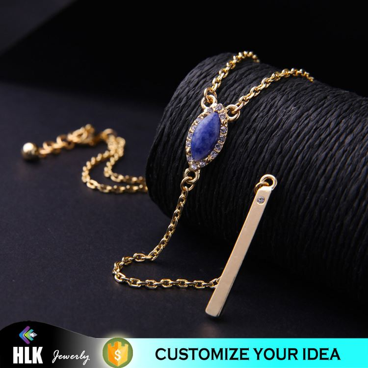 18k gold filled jewelry Custom Made Logo Jewelry Charms Flat Stick Chain Connect Pendant Necklace