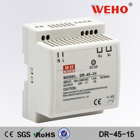 CE RoHS approved 15V DIN Rail DR-45-15 android tablet power supply