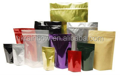 Food grade stand up aluminum foil plastic bag for tea packaging with zipper top