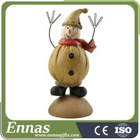 Polyresin snowman on base for christmas decoration