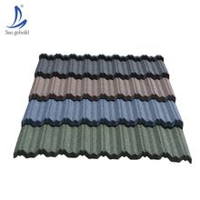 Free Sample Best Quality Colorful Red India Flat Metal Stone Coated Roof Tile Stone Covered Metal Tile For Roofing System