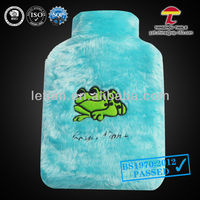 large hot water bag with frog faux fur cover
