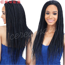 Synthetic 22'' Black Lace Front Wig Full Head Senegalese Small Crochet Braid Wig