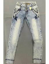 Royal wolf jeans manufacturer blue fry bleached wash nail beaded skinny leg back pocket braided denim jeans