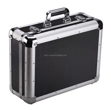 sturdy reinforcement aluminum box carrying case with handle black hard case